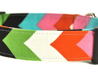 Multi Striped Chevron Dog Collar - Size Tiny, XS or Small ONLY