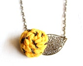 Hypnotic Yellow/ Fabric flower necklace with brass filigree leaf/ Fashion Jewelry