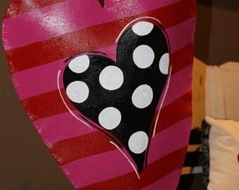 Red and Pink Striped Heart Valentine's Door Hanger