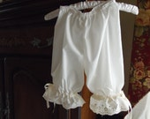 1T to 5T Bloomers,Pantaloons, Panties in White or Ivory with Lace and ribbon trim