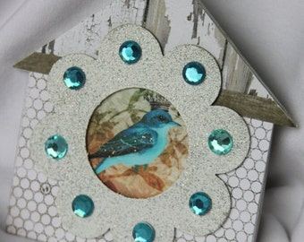 Altered Birdhouse Shabby Inspired Magnet Gift Home Decor