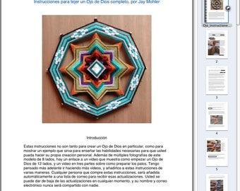Las instrucciones para hacer su propio 8 o 12 caras Ojo de Dios, en formato pdf. en español **** excepto VIDEOS EN INGLÉS