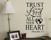 Trust in the Lord, Vinyl Wall Lettering, Vinyl Wall Decals, Vinyl Decals, Vinyl Lettering, Wall Decals, Religious Decal, Christian Decal