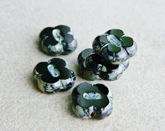 Picasso Czech Glass Beads,Table Cut Beads, Large Beads, 12mm, Jet & Metallic Picasso (10pcs) NEW
