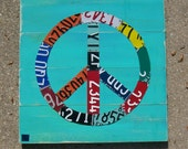 Original PEACE SIGN yoga bar restaraunt art - Adventure Road Trip  Awesome Recycled License Plate Art - Salvaged Wood - Upcycled Artwork