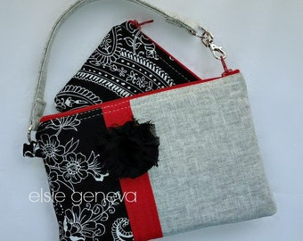 Grey Japanese Linen Black Paisley Red Phone - iPhone Pouch - Case - Wristlet Includes Extra Zipper Pouch Hot Pink Purple Aqua
