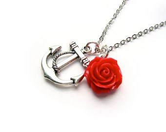 Anchor Rose Necklace - Silver Nautical Necklace - Red Rose Necklace - The Rose And Anchor