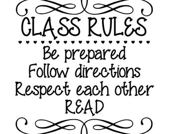 Class Rules vinyl wall decal teacher decal