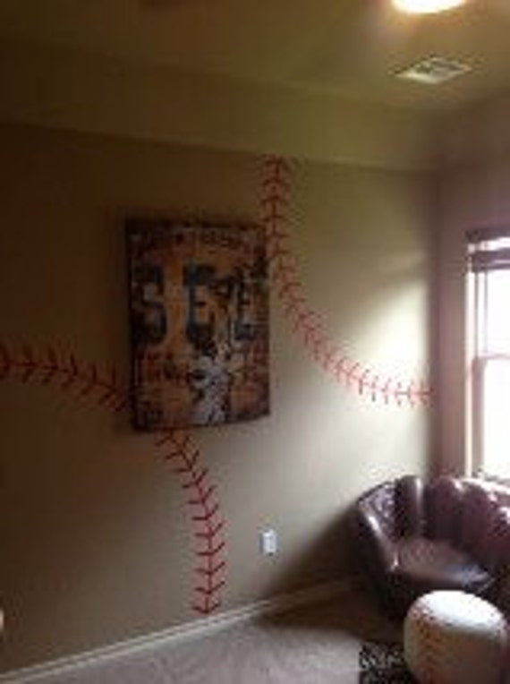 Baseball Stitching Vinyl Wall Decal Sports