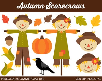 Autumn Scarecrows Clipart - Digital Clip Art Graphics for Personal or Commercial Use