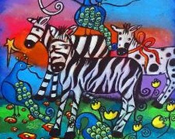 Zebra and Peacocks Tile Drink Coaster