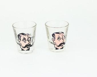 Vintage Mustache Man Shot Glasses