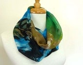 Silk Infinity Scarves Mobius Scarf Abstract Print - sesenarts