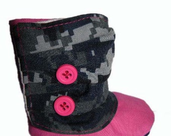 Navy NWU Blue and Hot Pink Baby Boots 0-6 Months *Made to order*
