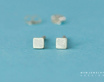Super Tiny Sterling Silver Flat Square Stud Earrings
