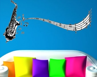 """Saxophone With Music Notes Wall Decals Removable Music Wall Stickers Peel and Stick White Background Art  20"""" x 48"""""""