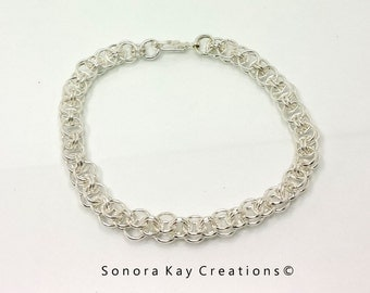 One  Helms Weave Chainmaille Bracelet in Silver Plated Brass Custom Made to Order