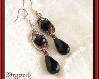 Victorian Black, Red & Silver Teardrop Earrings / Vintage Inspired Dangle / Downton Abbey / Edwardian Spinner / Oval Frame / Allergy Free
