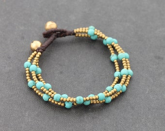 Turquoise Round Brass 3 Strand Bracelet