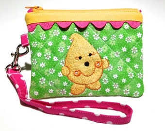 Original Parker Wristlet - Quilted Embroidered in Green Pink and Yellow