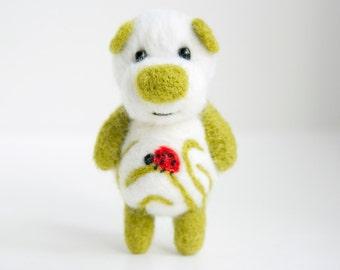 Felted ladybug pocket bear