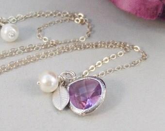 Lavender Blossom,Purple Necklace,Amethyst Necklace,Pearl necklace,Leaf Necklace,Amethyst Jewelry,Amethyst Birthstone,February Birthstone