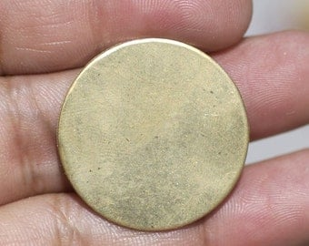 Brass 26mm Disc 24G Blank Cutout for Metalworking Soldering Stamping Texturing - 4 Pieces