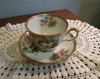 Vintage Shabby Teacup & Saucer, Pink Pansies, Japan, Heavy Gold Guild, Tea Party, Cottage Chic