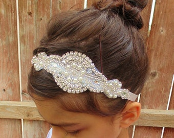 Flower Girl Headpiece, Rhinestone Headpiece, Pearl Headpiece, Bridal Headpiece, Baptism Headband