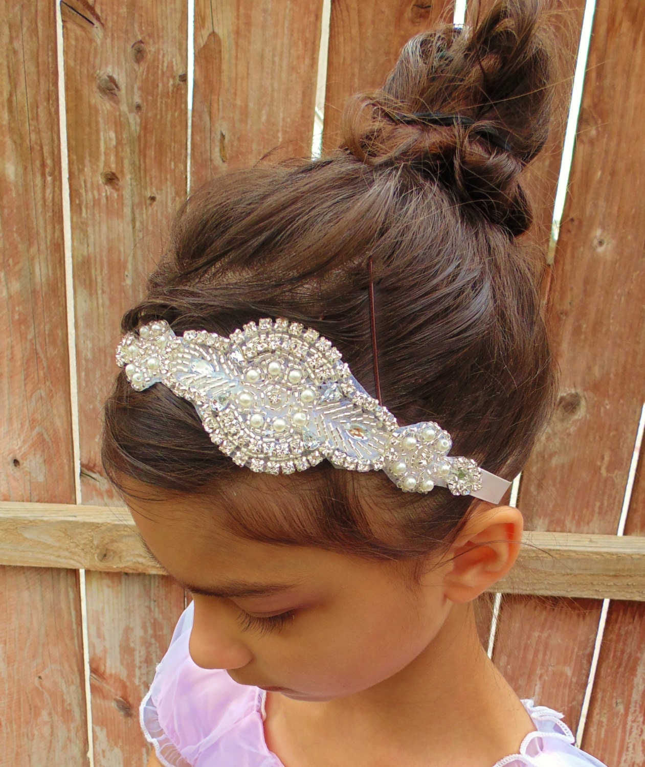 Flower Wedding Headpieces: Flower Girl Headpiece Rhinestone Headpiece Pearl Headpiece