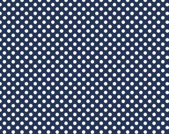 Le Creme Basics - navy and cream small dots - 1 yard