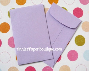 10 Mini Open End Envelopes with Ungummed Flap - Lavender, Light Purple