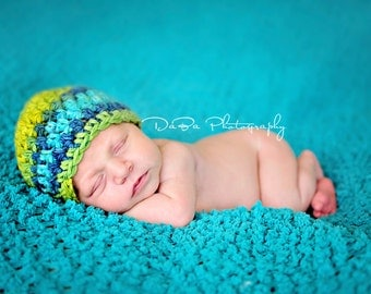 0-3 Months Crochet Baby Hat  - Turqoise, Yellow, Green And Blue - Baby Boy Hat or Baby Girl Hat