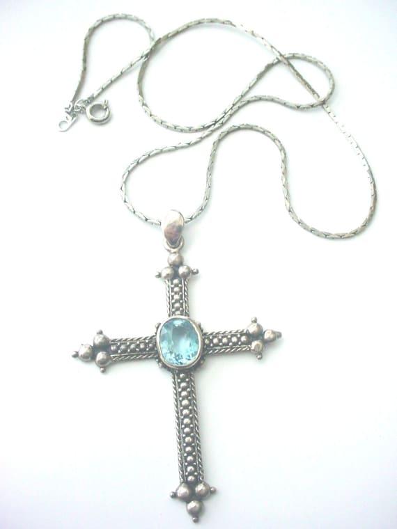 vintage aquamarine gemstone cross necklace