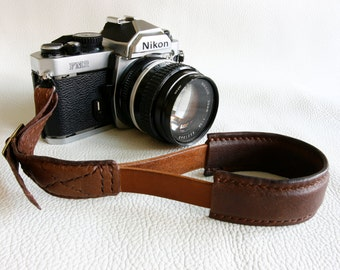 Handmade Brown leather camera Hand strap - made to order