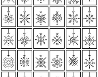 30 blackwork ornaments, to use indiviually or as a sampler...