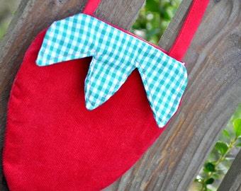 Girls Purse - Strawberry Purse - Corduroy Purse - Red Strawberry Bag