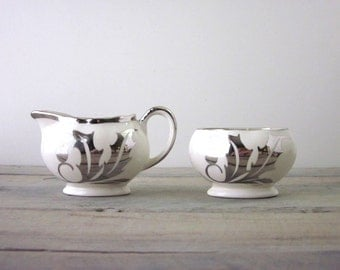 Vintage China Transferware Creamer and Sugar Set