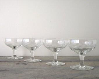 Vintage Etched Glasses Dessert Compotes