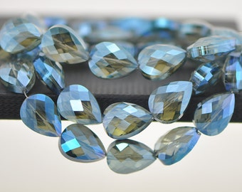 38pcs Teardrop Faceted Crystal Glass Beads 18mm Montana Blue -(TS65-2)