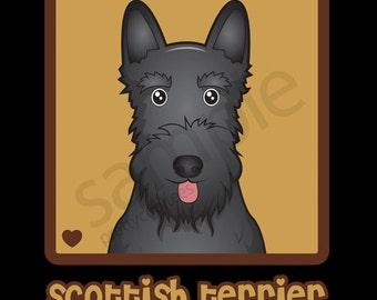 Scottish Terrier Cartoon Heart T-Shirt Tee - Men's, Women's Ladies, Short, Long Sleeve, Youth Kids