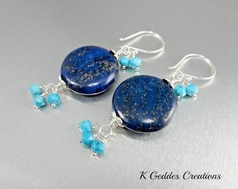 Lapis Lazuli Dangle Earrings, Sleeping Beauty Turquoise, Sterling Silver, Blue Gemstone Coin Earrings