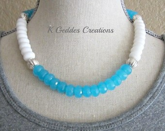 Blue White Jade Statement Necklace, Sterling Silver, Color Block, Gemstone Chunky Necklace