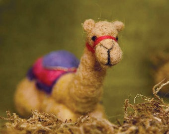 Ready to ship, Needle Felted Sitting Camel for Nativity Set , Original design by Borbala Arvai
