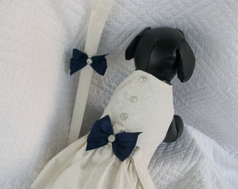 Wedding Dog Dress  Ruffled  Harness with matching leash for Dog or Cat Outfit