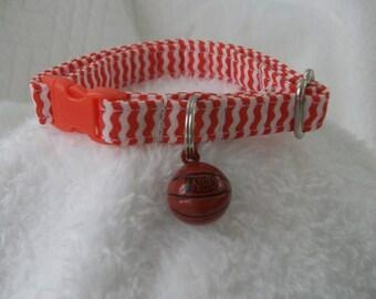 Cat Collar with Basketball  bell Breakaway Collar Custom Made