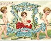 1908 Vintage Victorian Valentines Day Postcard Cherubs With Chariot Decorated With Forget Me Nots And Red Hearts Antique Embossed Post Card