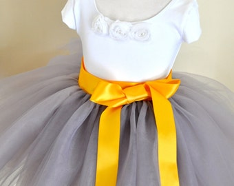 Dove grey Flower Girl short 8 layer tutu with sunflower yellow satin ribbon sash waist. Sewn, no tied knots.