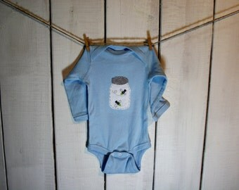 Fireflies in Mason Jar Baby Bodysuit, Ball Jar of lightning bugs Baby Bodysuit, Summer fun