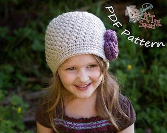 crochet baby hat pattern, easy hat pattern, newborn hat pattern,  hat with flower pattern, Womens crochet hat pattern,girls hat patter